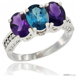 10K White Gold Natural London Blue Topaz & Amethyst Sides Ring 3-Stone Oval 7x5 mm Diamond Accent