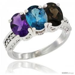 10K White Gold Natural Amethyst, London Blue Topaz & Smoky Topaz Ring 3-Stone Oval 7x5 mm Diamond Accent