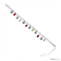 """Sterling Silver Italian Charm Bracelet w/ Dangling Sun Pendants & Natural Carnelian Stones, 5/8"""" (16 mm) wide"""