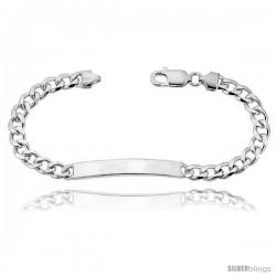 Sterling Silver Italian ID Bracelet Cuban Link 1/4 in wide Nickel Free -Style Idc180