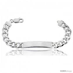 Sterling Silver Italian ID Bracelet Cuban Link 3/8 in wide Nickel Free