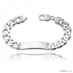 Sterling Silver Italian ID Bracelet Cuban Link 3/8 in wide Nickel Free -Style Idc300