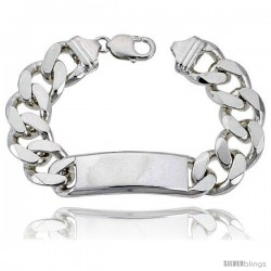 Very Large Sterling Silver Italian ID Bracelet Cuban Link 5/8 in wide Nickel Free