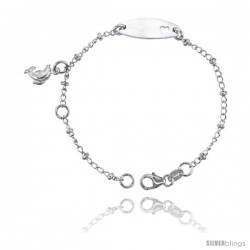 Sterling Silver Curb Link Baby ID Bracelet w/ Heart Cut-Out