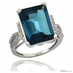 Sterling Silver Diamond Natural London Blue Topaz Ring 12 ct Emerald Shape 16x12 Stone 3/4 in wide
