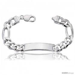 Sterling Silver Italian ID Bracelet Figaro Link 3/8 in wide Nickel Free -Style Idf300