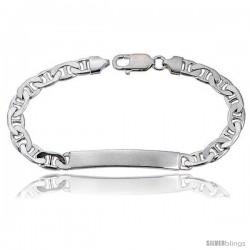 Sterling Silver Italian ID Bracelet Mariner Link 1/4 in wide Nickel Free -Style Idg180