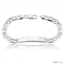 Sterling Silver Italian ID Bracelet Mariner Link 5/16 in wide Nickel Free