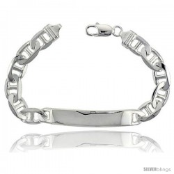 Sterling Silver Italian ID Bracelet Mariner Link 3/8 in wide Nickel Free