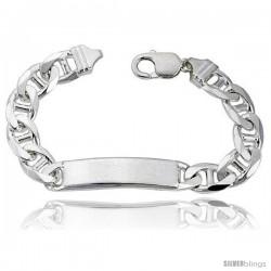 Sterling Silver Italian ID Bracelet Mariner Link 3/8 in wide Nickel Free -Style Idg300