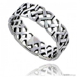 Sterling Silver Celtic Knot Wedding Band / Thumb Ring, 1/4 in wide -Style Tr487