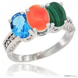 14K White Gold Natural Swiss Blue Topaz, Coral & Malachite Ring 3-Stone 7x5 mm Oval Diamond Accent