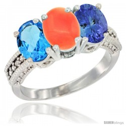 14K White Gold Natural Swiss Blue Topaz, Coral & Tanzanite Ring 3-Stone 7x5 mm Oval Diamond Accent