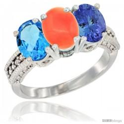 14K White Gold Natural Swiss Blue Topaz, Coral & Tanzanite Ring 3-Stone 7x5 mm Oval Diamond Accent