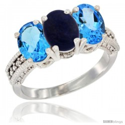 14K White Gold Natural Lapis & Swiss Blue Topaz Sides Ring 3-Stone 7x5 mm Oval Diamond Accent