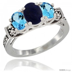 14K White Gold Natural Lapis & Swiss Blue Topaz Ring 3-Stone Oval with Diamond Accent