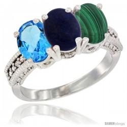14K White Gold Natural Swiss Blue Topaz, Lapis & Malachite Ring 3-Stone 7x5 mm Oval Diamond Accent