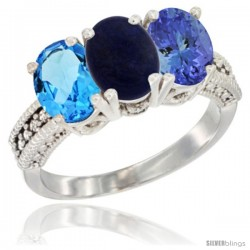 14K White Gold Natural Swiss Blue Topaz, Lapis & Tanzanite Ring 3-Stone 7x5 mm Oval Diamond Accent