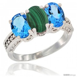 14K White Gold Natural Malachite & Swiss Blue Topaz Sides Ring 3-Stone 7x5 mm Oval Diamond Accent