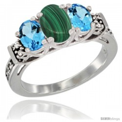 14K White Gold Natural Malachite & Swiss Blue Topaz Ring 3-Stone Oval with Diamond Accent