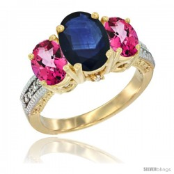 14K Yellow Gold Ladies 3-Stone Oval Natural Blue Sapphire Ring with Pink Topaz Sides Diamond Accent