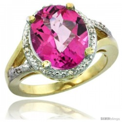 14k Yellow Gold Ladies Natural Pink Topaz Ring oval 12x10 Stone Diamond Accent