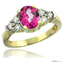 14k Yellow Gold Ladies Natural Pink Topaz Ring oval 9x7 Stone Diamond Accent