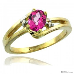 14k Yellow Gold Ladies Natural Pink Topaz Ring oval 6x4 Stone Diamond Accent -Style Cy406165