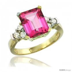 14k Yellow Gold Ladies Natural Pink Topaz Ring Emerald-shape 9x7 Stone Diamond Accent