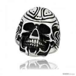 Surgical Steel Biker Ring Cyborg Skull 1 1/8 in wide