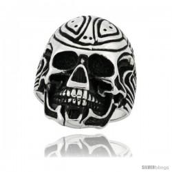 Surgical Steel Biker Ring Cyborg Skull 1 1/8 in wide