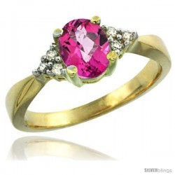 14k Yellow Gold Ladies Natural Pink Topaz Ring oval 7x5 Stone Diamond Accent -Style Cy406168