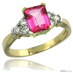 14k Yellow Gold Ladies Natural Pink Topaz Ring Emerald-shape 7x5 Stone Diamond Accent