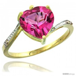 14k Yellow Gold Ladies Natural Pink Topaz Ring Heart-shape 9x9 Stone Diamond Accent