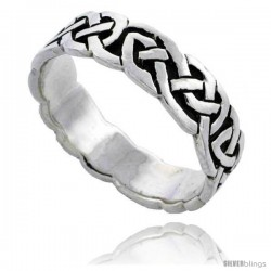 Sterling Silver Celtic Knot Wedding Band / Thumb Ring, 1/4 in wide -Style Tr488