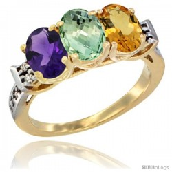 10K Yellow Gold Natural Amethyst, Green Amethyst & Citrine Ring 3-Stone Oval 7x5 mm Diamond Accent