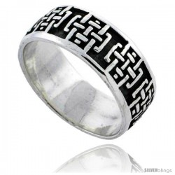 Sterling Silver Celtic Cross Pattern Wedding Band / Thumb Ring 1/4 in wide