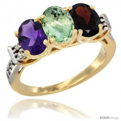 10K Yellow Gold Natural Amethyst, Green Amethyst & Garnet Ring 3-Stone Oval 7x5 mm Diamond Accent
