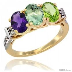 10K Yellow Gold Natural Amethyst, Green Amethyst & Peridot Ring 3-Stone Oval 7x5 mm Diamond Accent