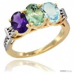 10K Yellow Gold Natural Amethyst, Green Amethyst & Aquamarine Ring 3-Stone Oval 7x5 mm Diamond Accent