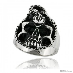 Surgical Steel Biker Skull Ring with Snake 1 3/16 in -Style Rss115