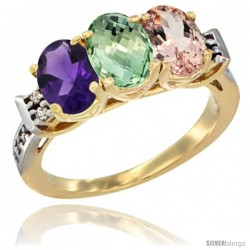 10K Yellow Gold Natural Amethyst, Green Amethyst & Morganite Ring 3-Stone Oval 7x5 mm Diamond Accent