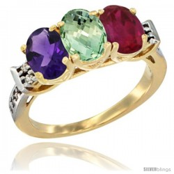 10K Yellow Gold Natural Amethyst, Green Amethyst & Ruby Ring 3-Stone Oval 7x5 mm Diamond Accent