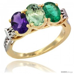 10K Yellow Gold Natural Amethyst, Green Amethyst & Emerald Ring 3-Stone Oval 7x5 mm Diamond Accent