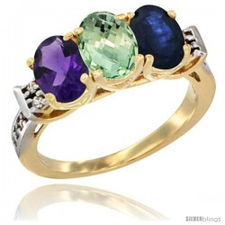 10K Yellow Gold Natural Amethyst, Green Amethyst & Blue Sapphire Ring 3-Stone Oval 7x5 mm Diamond Accent