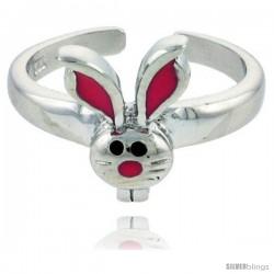 "Sterling Silver Child Size Rabbit Head Ring, w/ Pink Enamel Design, 7/16"" (11 mm) wide"
