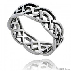 Sterling Silver Celtic Knot Wedding Band / Thumb Ring, 1/4 in wide -Style Tr490