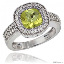 10K White Gold Natural Lemon Quartz Ring Cushion-cut 7x7 Stone Diamond Accent