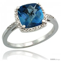 Sterling Silver Diamond Natural London Blue Topaz Ring 2.08 ct Cushion cut 8 mm Stone 1/2 in wide