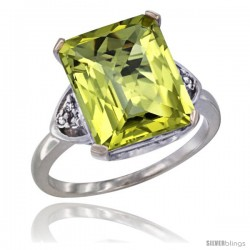 10K White Gold Natural Lemon Quartz Ring Emerald-shape 12x10 Stone Diamond Accent